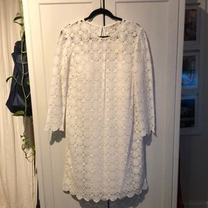 Boden White Cotton Lace Dress